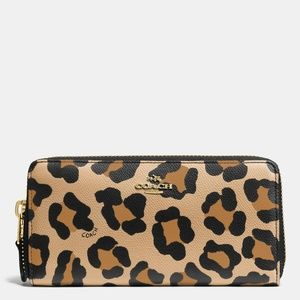 Coach Leopard Accordion Zip Wallet